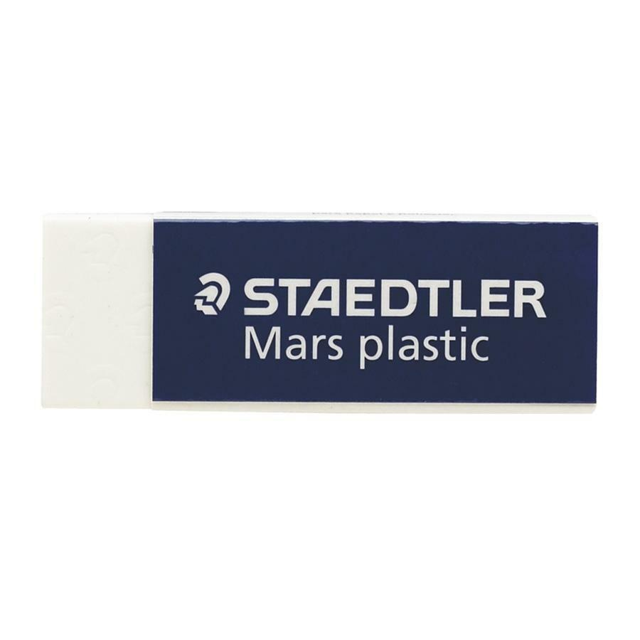 """Staedtler Mars Plastic Eraser - White - Vinyl - 2.6"""" Width x 0.5"""" Height x 0.9"""" Depth x - 4 / Pack - Latex-free, Non-smudge, Tear Resistant, Smear Resistant. Picture 1"""