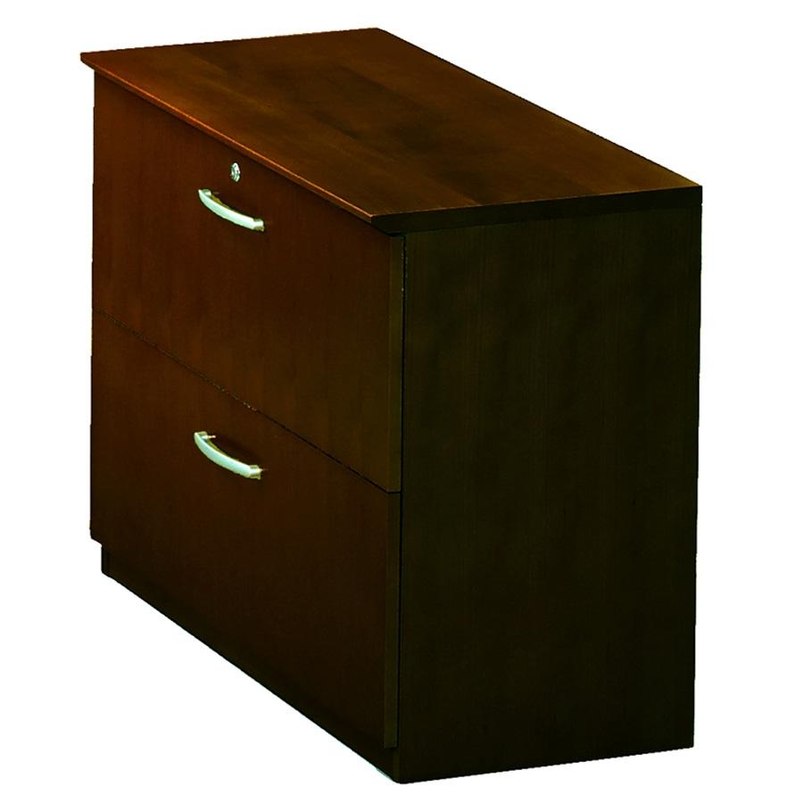"""Mayline Corsica Two-Drawer Lateral File - 36"""" x 19"""" x 29.5"""" - 2 - Beveled Edge - Material: Wood - Finish: Mahogany, Walnut Veneer. Picture 1"""