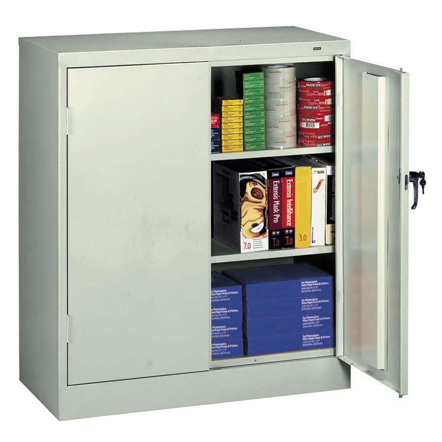 """Tennsco Counter-High Storage Cabinet - 36"""" x 18"""" x 42"""" - 2 x Door(s) - Locking Mechanism, Welded, Reinforced, Heavy Duty, Hinged Door, Adjustable Shelf - Light Gray - Recycled"""
