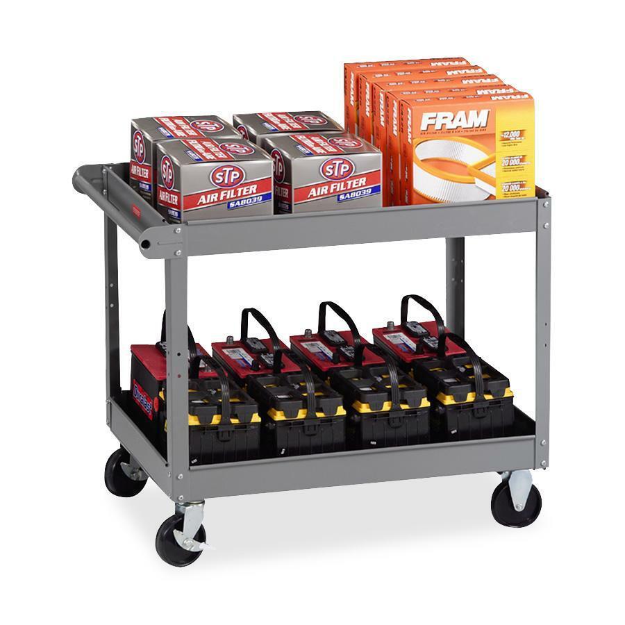 "Tennsco Two Shelf Service Cart - 2 Shelf - 500 lb Capacity - 4 Casters - Metal - x 32"" Width x 24"" Depth x 36"" Height - Medium Gray - 1 Each. Picture 1"