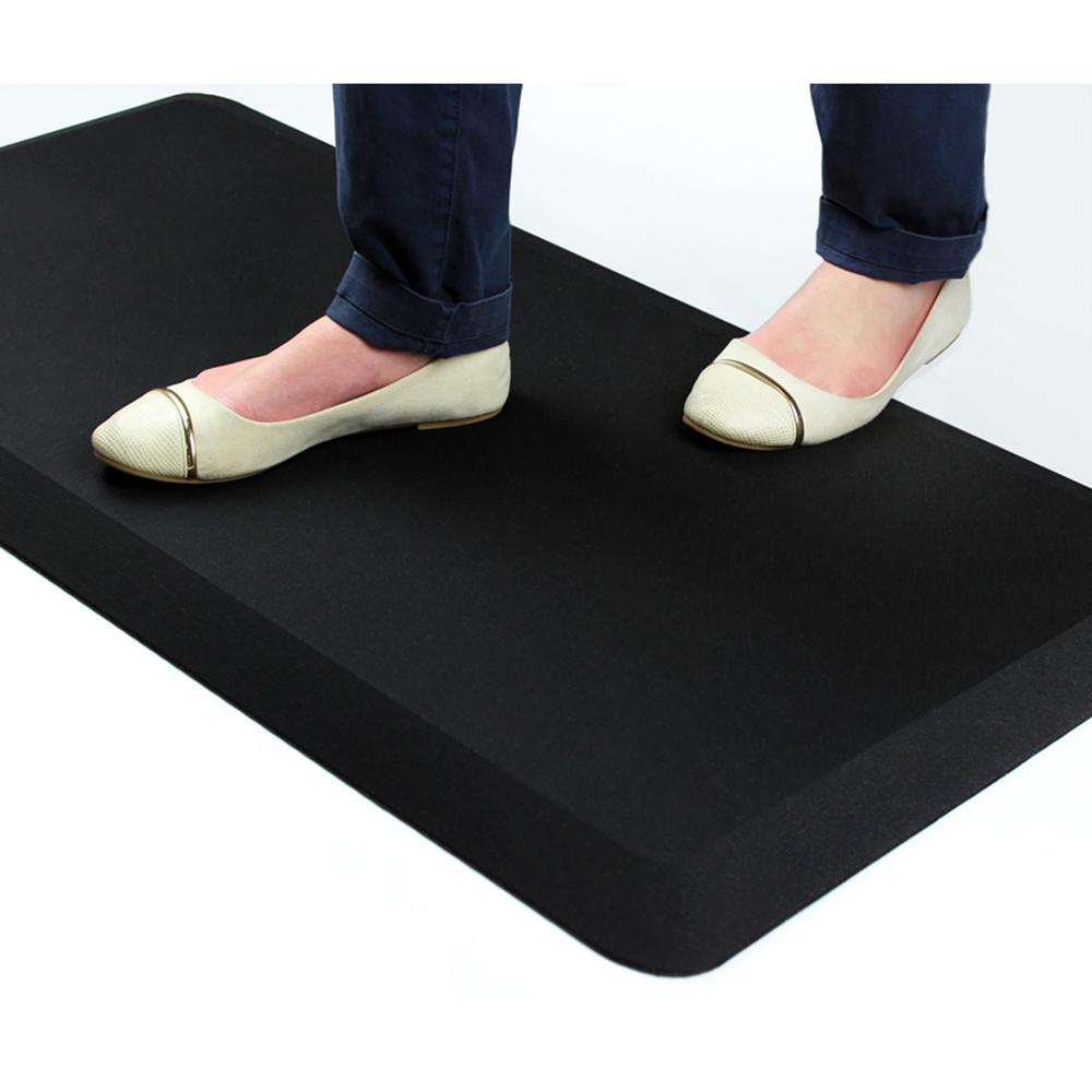 "AFS-TEX Unique System 3000 Anti-Fatigue Mat - Workstation, Stand-up Desk, Reception, Counter - 39"" Length x 20"" Width x 0.80"" Thickness - Rectangle - Polyurethane, Polyester - Midnight Black. Picture 4"