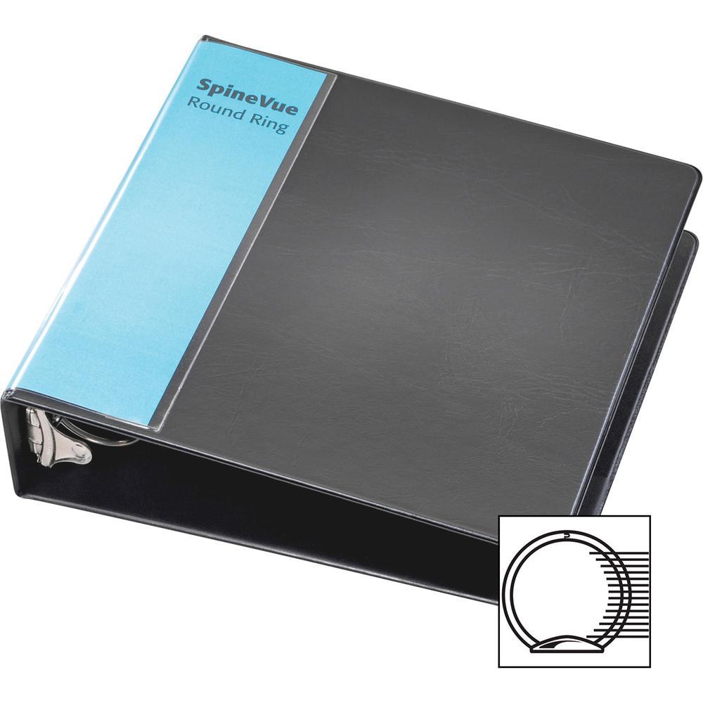"Cardinal Spine Vue Locking Round Ring Binder - 2"" Binder Capacity - Letter - 8 1/2"" x 11"" Sheet Size - 450 Sheet Capacity - 3 x Round Ring Fastener(s) - 2 Inside Front & Back Pocket(s) - Vinyl - Black. Picture 6"