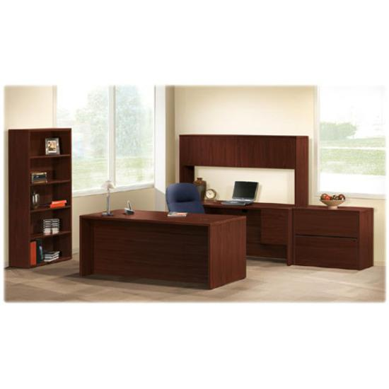 """HON 10500 Series Credenza with Kneespace - 4-Drawer - 72"""" x 24"""" x 29.5"""" - 4 x Box Drawer(s), File Drawer(s) - Double Pedestal - Square Edge - Material: Wood - Finish: Laminate, Mahogany. Picture 4"""