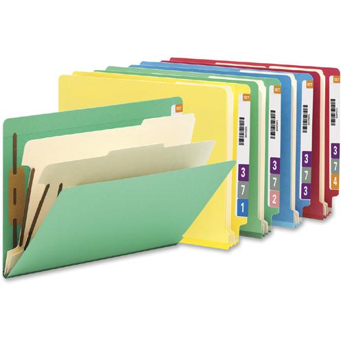 """Smead Letter Recycled Classification Folder - 8 1/2"""" x 11"""" - 2"""" Expansion - 2 x 2B Fastener(s) - 2"""" Fastener Capacity for Folder - End Tab Location - Right of Center Tab Position - 2 Divider(s) - Pres. Picture 2"""