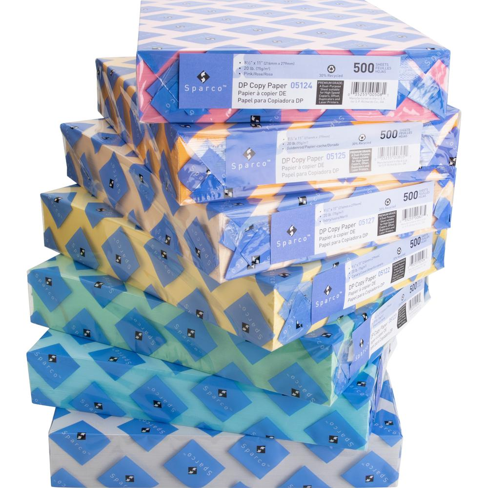 """Sparco Laser Copy & Multipurpose Paper - 30% Recycled - Letter - 8 1/2"""" x 11"""" - 20 lb Basis Weight - 500 / Ream - Green. Picture 3"""