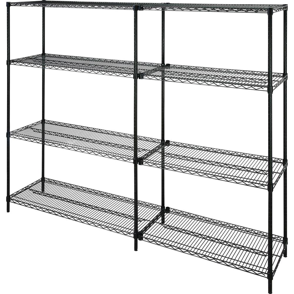 """Lorell Starter Shelving Unit - 48"""" x 18"""" x 72"""" - 4 x Shelf(ves) - 4000 lb Load Capacity - Black - Powder Coated - Steel - Assembly Required. Picture 2"""