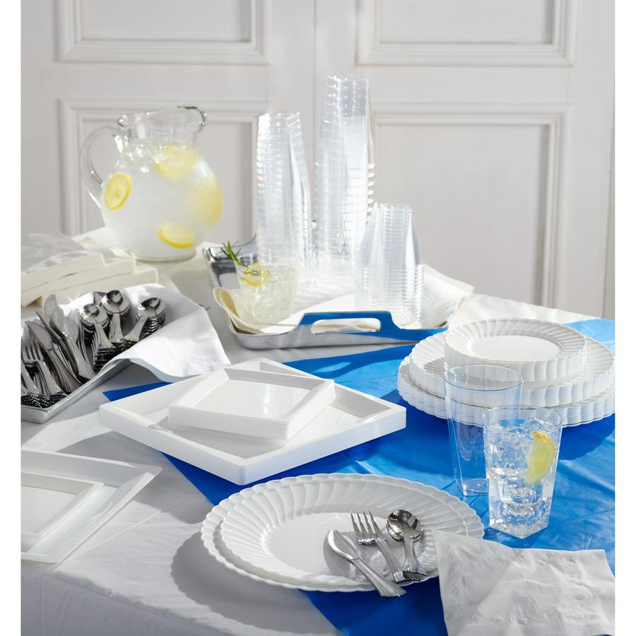 "Genuine Joe Plastic Rectangular Table Covers - 108"" Length x 54"" Width - Plastic - White - 6 / Pack. Picture 2"