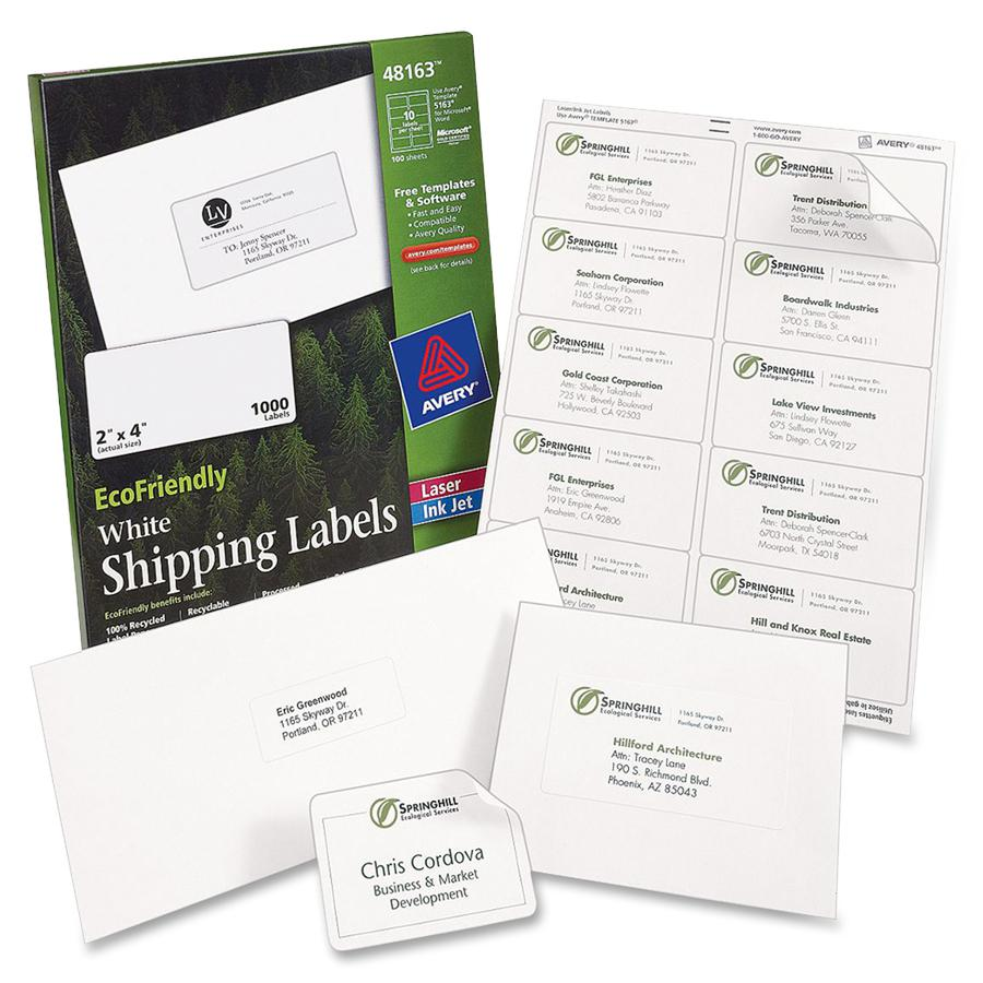 Avery® EcoFriendly Address Labels - Water Based Adhesive - Rectangle - Laser, Inkjet - White - Paper - 30 / Sheet - 25 Total Sheets - 750 Total Label(s) - 750 / Box. Picture 4