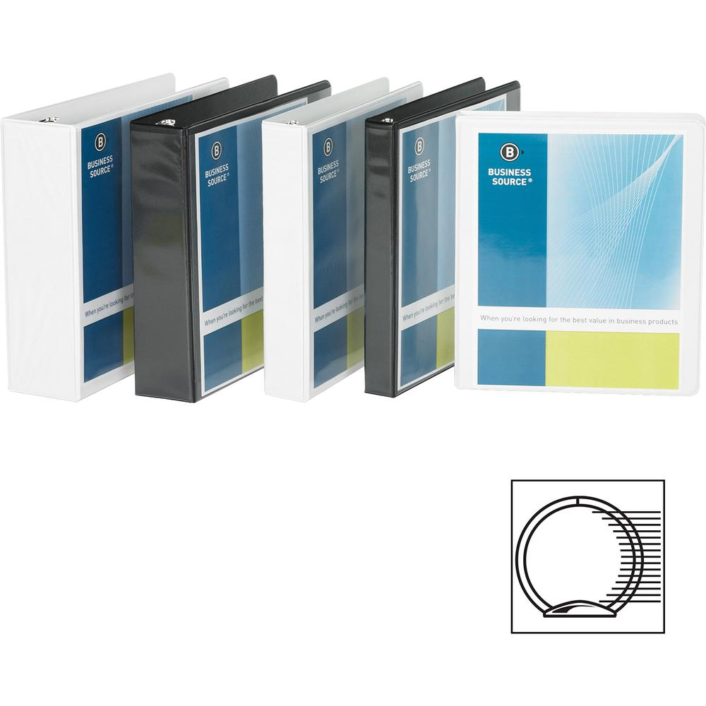"""Business Source Round Ring Standard View Binders - 1 1/2"""" Binder Capacity - Letter - 8 1/2"""" x 11"""" Sheet Size - 350 Sheet Capacity - 3 x Ring Fastener(s) - 2 Internal Pocket(s) - White - 8 oz - Conceal. Picture 7"""