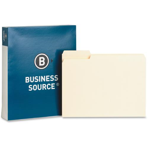 """Business Source Manila Interior File Folders - Letter - 8 1/2"""" x 11"""" Sheet Size - 1/3 Tab Cut - Top Tab Location - Assorted Position Tab Position - 11 pt. Folder Thickness - Manila - Manila - Recycled. Picture 3"""