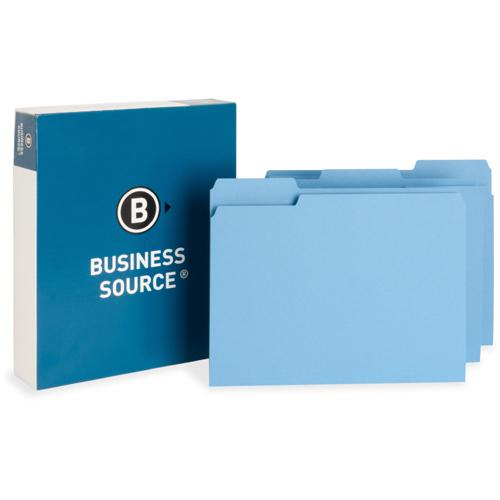 """Business Source Color-coding Top-tab File Folders - Letter - 8 1/2"""" x 11"""" Sheet Size - 1/3 Tab Cut - Top Tab Location - Assorted Position Tab Position - 11 pt. Folder Thickness - Blue - Recycled - 100. Picture 2"""