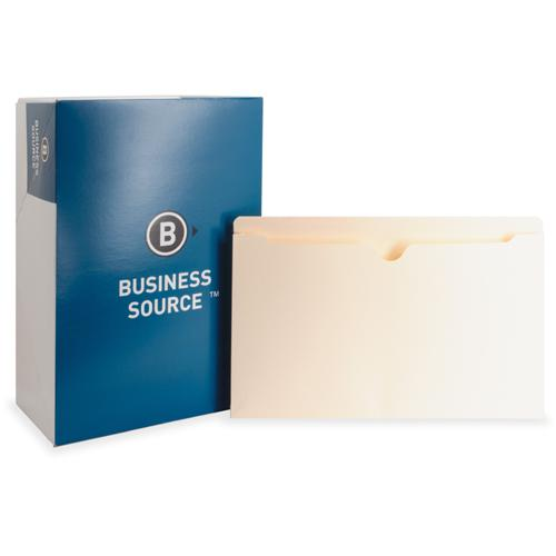 """Business Source 1"""" Expansion Heavyweight File Pockets - Legal - 8 1/2"""" x 14"""" Sheet Size - 1"""" Expansion - Straight Tab Cut - 11 pt. Folder Thickness - Manila - Recycled - 50 / Box. Picture 3"""