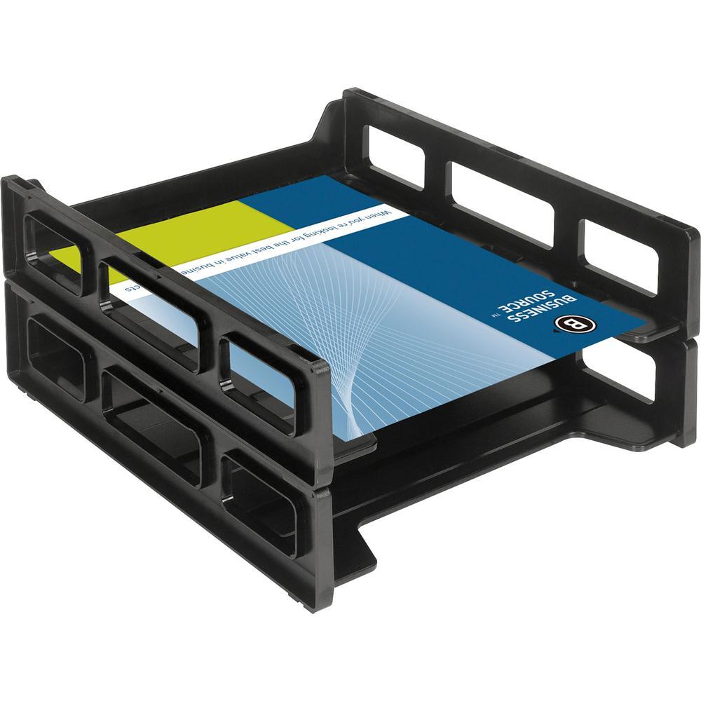 Business Source Front-Load Stackable Letter Tray - Desktop - Stackable - 25% - Black - Plastic - 1 Each. Picture 6