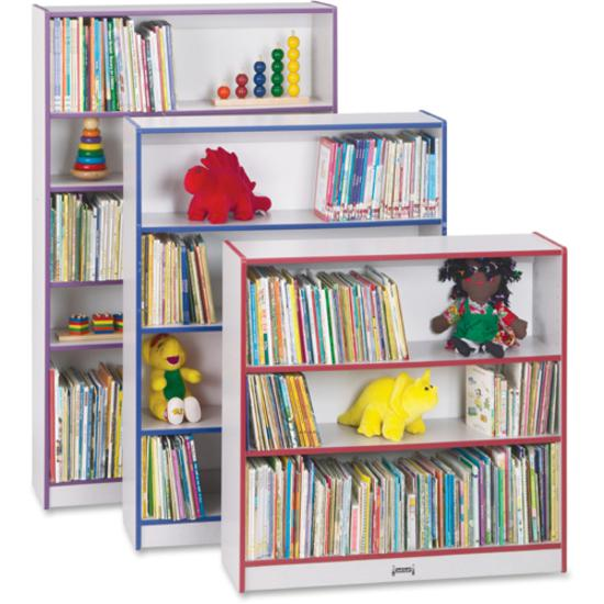 "Rainbow Accents 60"" Bookcase - 59.5"" Height x 36.5"" Width x 11.5"" Depth - Red - 2 / Each. Picture 4"