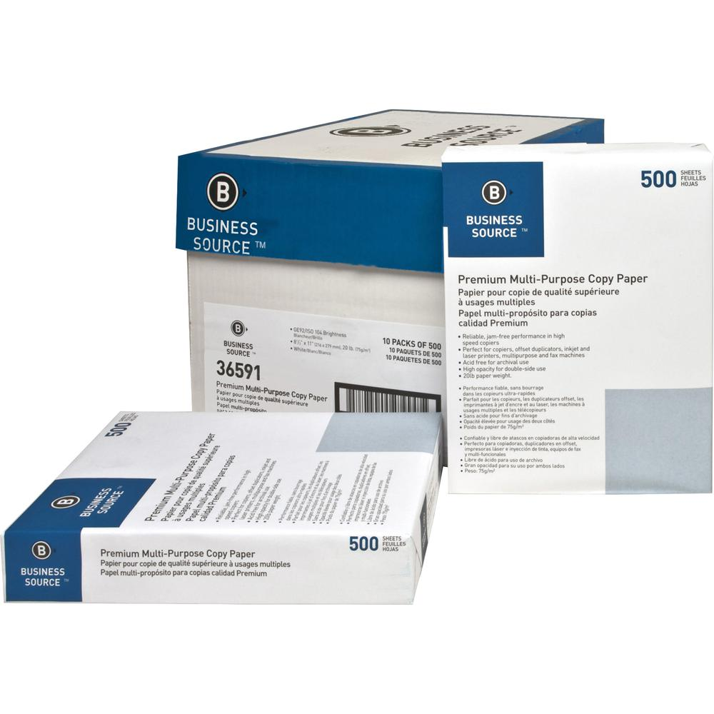 "Business Source Premium Multipurpose Copy Paper - Letter - 8 1/2"" x 11"" - 20 lb Basis Weight - 200000 / Pallet - White"