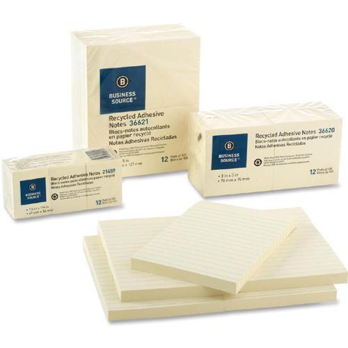 """Business Source Yellow Adhesive Notes - 4"""" x 6"""" - Rectangle - Ruled - Yellow - Self-adhesive, Removable - 5 / Pack. Picture 6"""