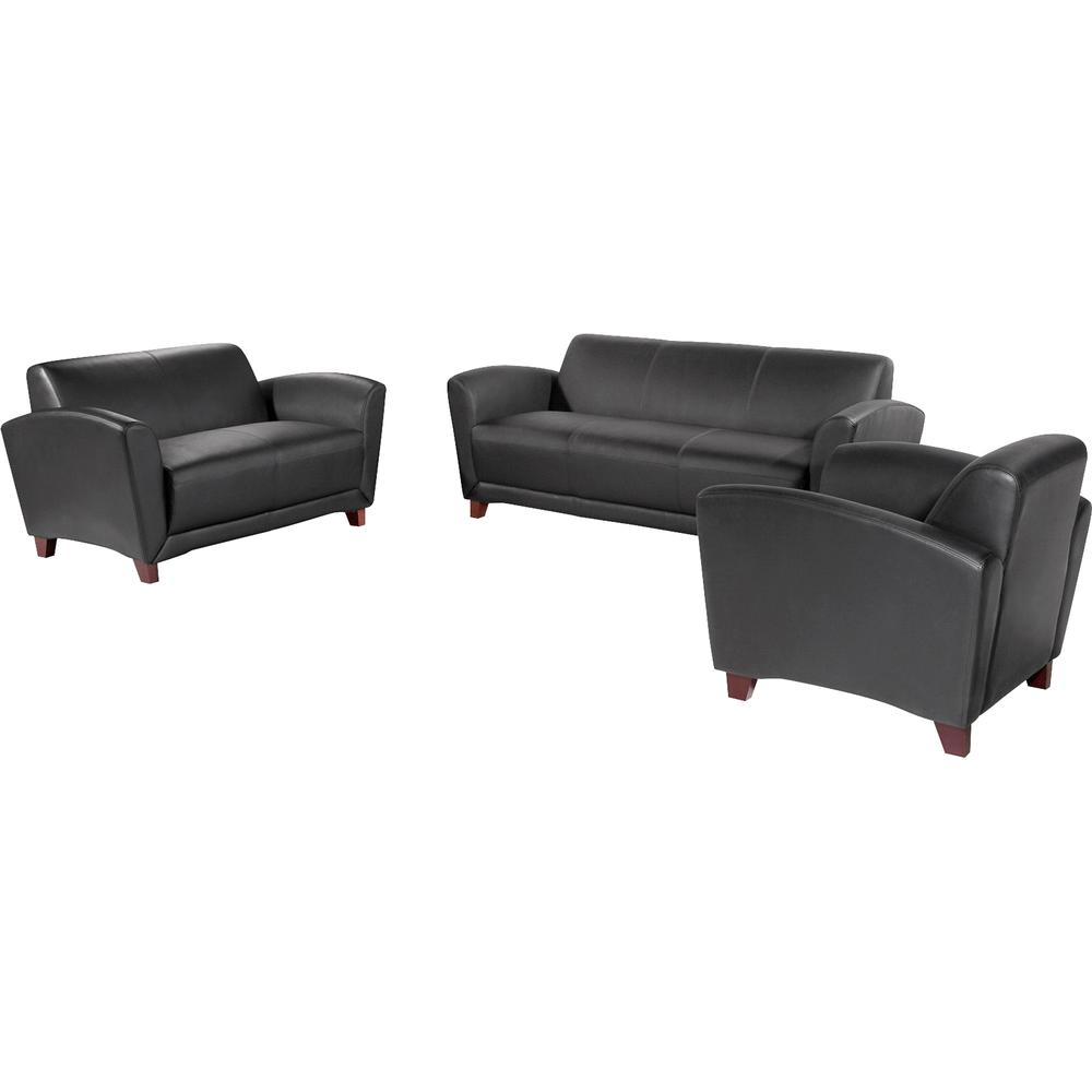 """Lorell Reception Seating Collection Leather Loveseat - 55"""" x 34.5"""" x 31.3"""" - Leather Black Seat - 1 Each. Picture 4"""