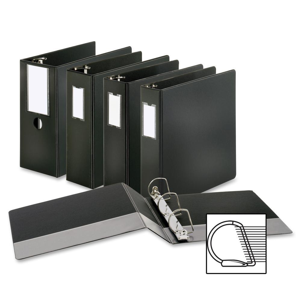 "Business Source Slanted D-ring Binders - 4"" Binder Capacity - 3 x D-Ring Fastener(s) - 2 Internal Pocket(s) - Chipboard, Polypropylene - Black - PVC-free, Non-stick, Spine Label, Gap-free Ring, Non-gl. Picture 8"