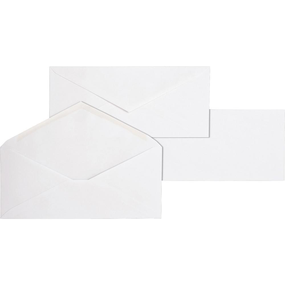 "Business Source No. 10 White Wove V-Flap Business Envelopes - Business - #10 - 9 1/2"" Width x 4 1/8"" Length - 24 lb - Gummed - Wove - 500 / Box - White. Picture 2"