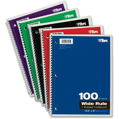 """TOPS Wide Rule 1-subject Spiral Notebook - 100 Sheets - Wire Bound - 10 1/2"""" x 8"""" - 0.3"""" x 8""""10.5"""" - Assorted Paper - Black, Red, Blue, Green, Purple Cover - Card Stock Cover - Perforated, Subject, Ea. Picture 5"""