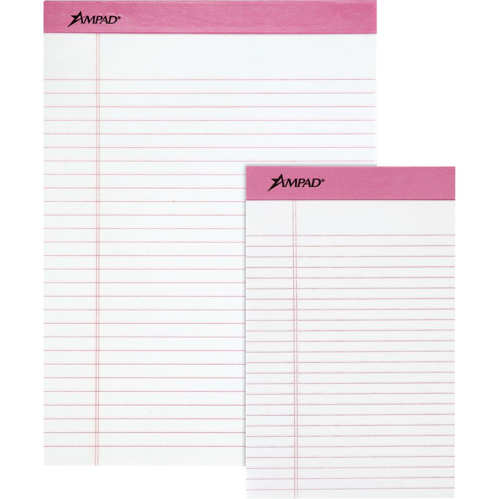 "TOPS Pink Binding Writing Pads - 50 Sheets - 0.28"" Ruled Pink Margin - 20 lb Basis Weight - 5"" x 8"" - White Paper - Pink Binder - Micro Perforated, Chipboard Backing, Heavyweight, Easy Tear - 6 / Pack. Picture 2"