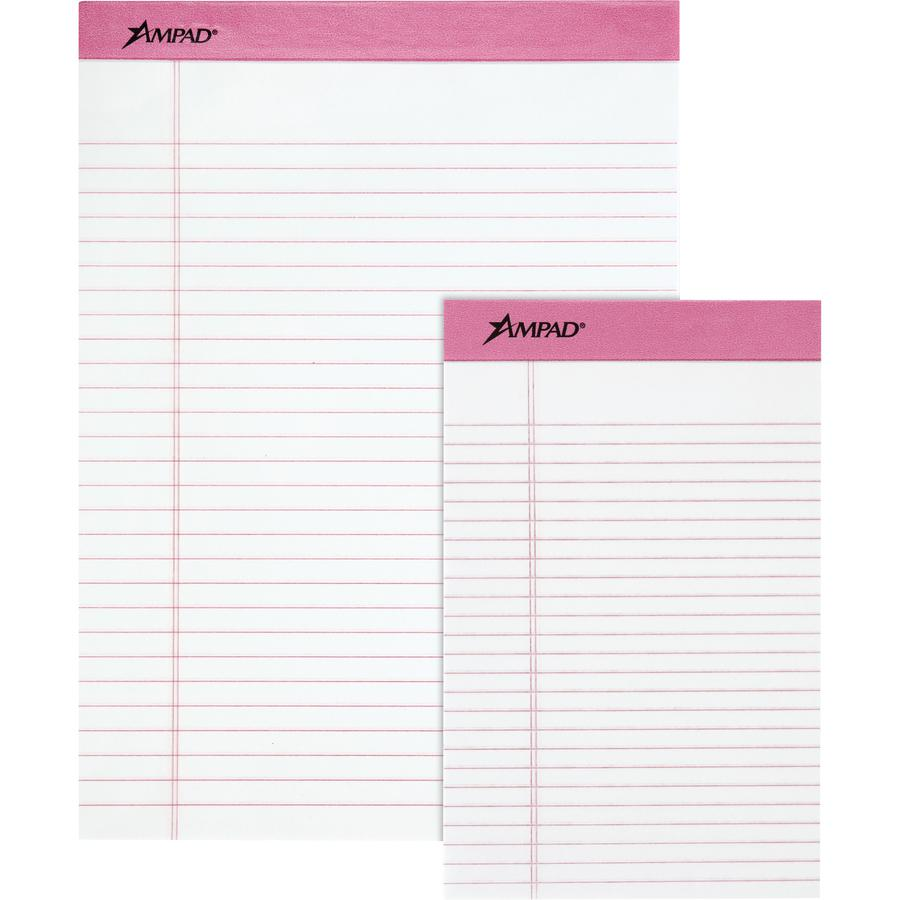 "TOPS Pink Binding Writing Pads - Letter - 50 Sheets - 0.34"" Ruled Pink Margin - 20 lb Basis Weight - 8 1/2"" x 11""8.5""11.8"" - White Paper - Pink Binder - Micro Perforated, Heavyweight, Chipboard Backin. Picture 3"