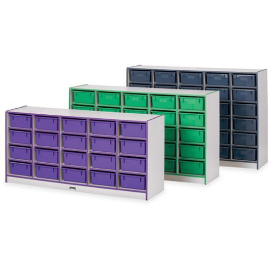 "Jonti-Craft Rainbow Accents Mobile Tub Bin Storage - 30 Compartment(s) - 42"" Height x 60"" Width x 15"" Depth - Orange - Hard Rubber - 1Each. Picture 5"