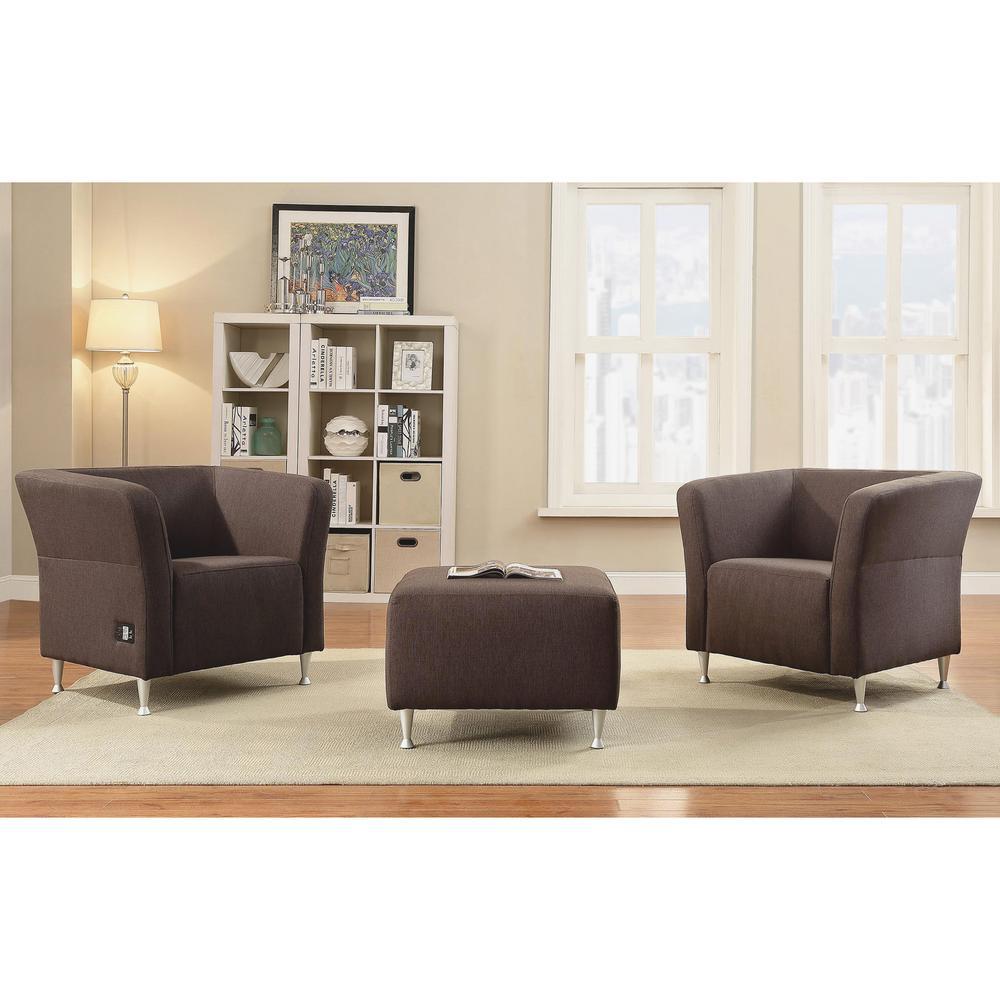 Lorell Fuze Lounger Chair - Four-legged Base - Brown - 28.3\