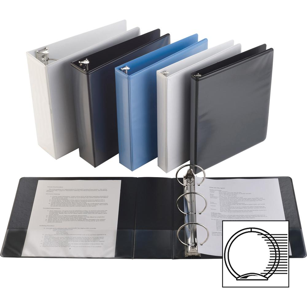 """Business Source Round-ring View Binder - 3"""" Binder Capacity - Letter - 8 1/2"""" x 11"""" Sheet Size - 625 Sheet Capacity - Round Ring Fastener(s) - 2 Internal Pocket(s) - Polypropylene, Chipboard, Board - . Picture 2"""