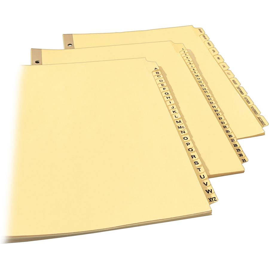 """Avery® Laminated Dividers - Gold Reinforced - 31 x Divider(s) - Printed Tab(s) - Digit - 1-31 - 31 Tab(s)/Set - 8.5"""" Divider Width x 11"""" Divider Length - Letter - 3 Hole Punched - Buff Paper Divid. Picture 2"""