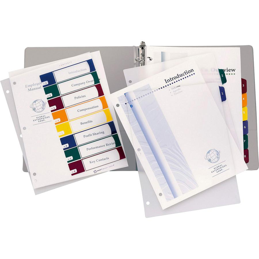 """Avery® Ready Index Customizable TOC Binder Dividers - 8 x Divider(s) - 8 Tab(s) - 1-8, Table of Contents - 8 Tab(s)/Set - 8.5"""" Divider Width x 11"""" Divider Length - 3 Hole Punched - Clear Plastic D. Picture 3"""
