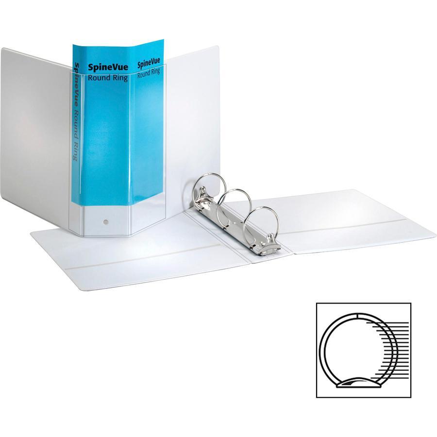 "Cardinal Spine Vue Locking Round Ring Binder - 3"" Binder Capacity - Letter - 8 1/2"" x 11"" Sheet Size - 625 Sheet Capacity - 3 x Round Ring Fastener(s) - 2 Inside Front & Back Pocket(s) - Vinyl - White. Picture 7"