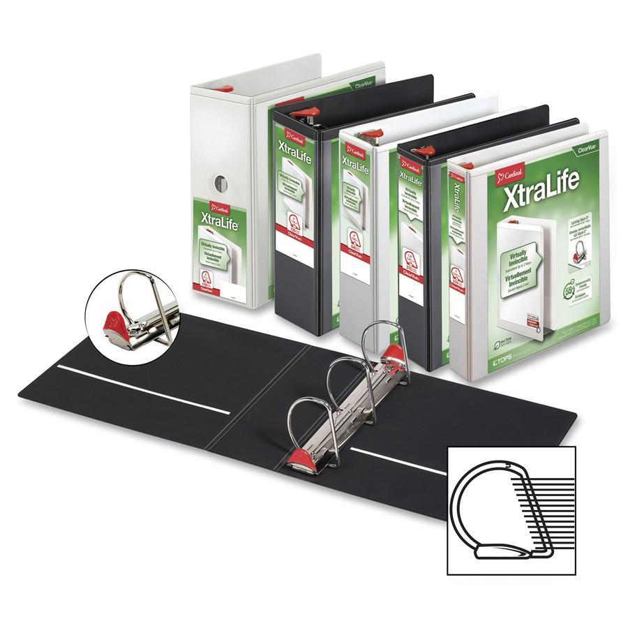 "Cardinal Xtralife ClearVue Locking Slant-D Binders - 2"" Binder Capacity - Letter - 8 1/2"" x 11"" Sheet Size - 540 Sheet Capacity - 2 1/2"" Spine Width - 3 x D-Ring Fastener(s) - 2 Inside Front & Back Po. Picture 3"