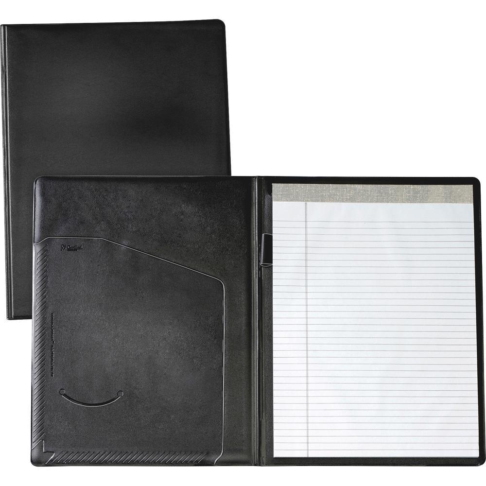 "Cardinal Letter Pad Folio - 9 1/2"" x 12 1/2"" - 100 Sheet Capacity - 1 Inside Front Pocket(s) - Vinyl, Polyvinyl Chloride (PVC) - Black - 1 Each. Picture 2"