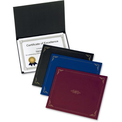 "Oxford Letter Certificate Holder - 8 1/2"" x 11"" - Linen - Black - 5 / Pack. Picture 3"