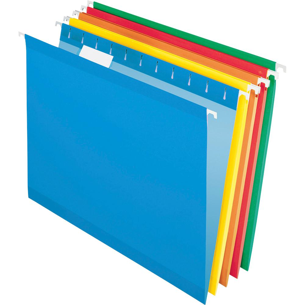 """Pendaflex Reinforced Hanging Folders - Letter - 8 1/2"""" x 11"""" Sheet Size - 1/5 Tab Cut - Blue, Red, Orange, Yellow, Green - Recycled - 25 / Box. Picture 2"""