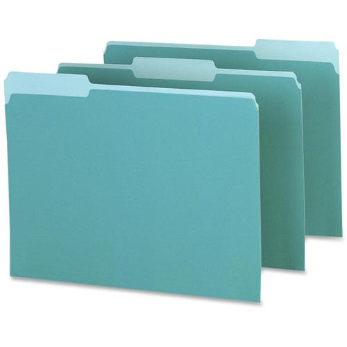 "Pendaflex 1/3 Tab Cut Letter Recycled Top Tab File Folder - 8 1/2"" x 11"" - Top Tab Location - Assorted Position Tab Position - Aqua - 10% - 100 / Box. Picture 3"