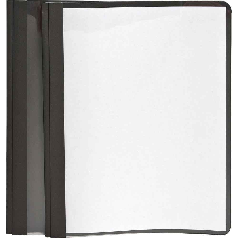 """Oxford Letter Report Cover - 8 1/2"""" x 11"""" - 100 Sheet Capacity - 3 x Tang Fastener(s) - 1/2"""" Fastener Capacity for Folder - Leatherette - Black, Clear - 25 / Box. Picture 3"""