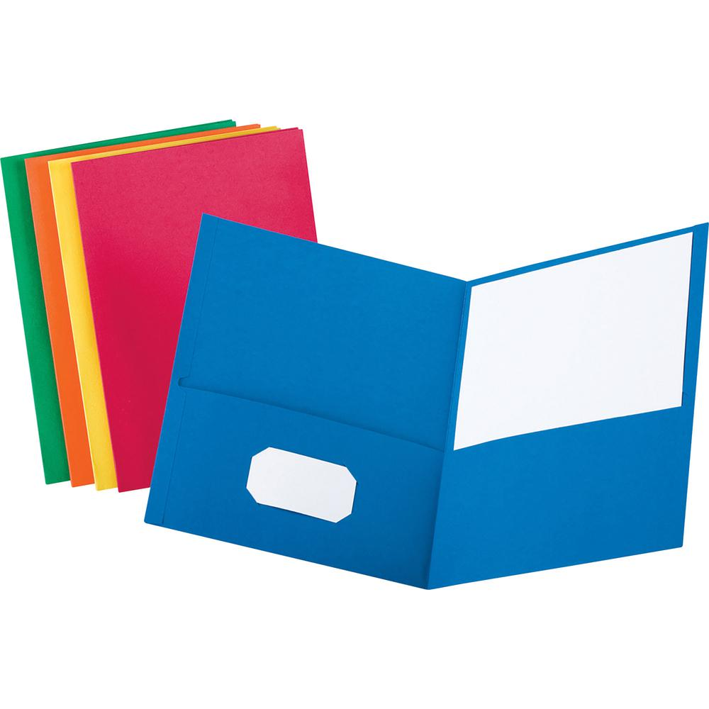 "Oxford Letter Recycled Pocket Folder - 8 1/2"" x 11"" - 100 Sheet Capacity - 2 Internal Pocket(s) - Leatherette Paper - Orange - 10% - 25 / Box. Picture 3"