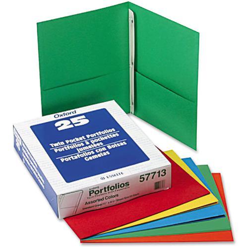 "Oxford Letter Recycled Pocket Folder - 8 1/2"" x 11"" - 3 Fastener(s) - 1/2"" Fastener Capacity for Folder - 2 Inside Front & Back Pocket(s) - Leatherette Paper - Blue, Green, Yellow, Orange, Red - 10% -. Picture 2"