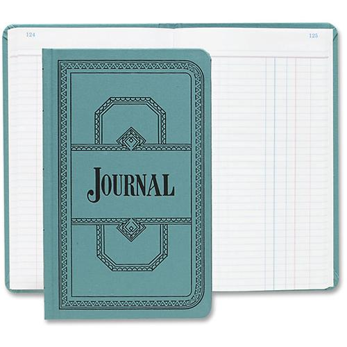 """Boorum & Pease Boorum 66 Series Blue Canvas Journal Books - 500 Sheet(s) - Thread Sewn - 7 5/8"""" x 12 1/8"""" Sheet Size - Blue - White Sheet(s) - Blue, Red Print Color - Blue Cover - 1 Each. Picture 2"""