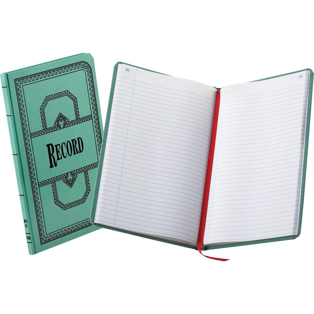 """Boorum & Pease Boorum 66 Series Blue Canvas Record Books - 500 Sheet(s) - Thread Sewn - 7 5/8"""" x 12 1/8"""" Sheet Size - Blue - White Sheet(s) - Blue, Red Print Color - Blue Cover - 1 Each. Picture 3"""