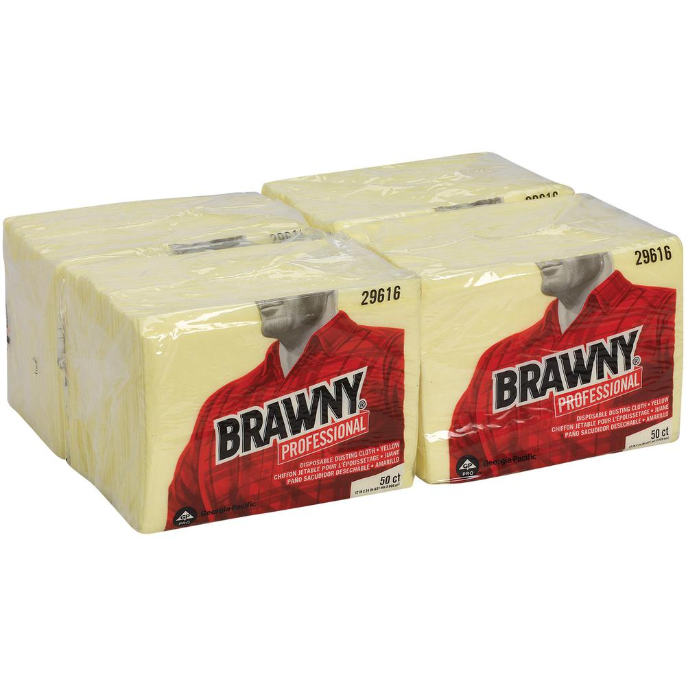 """Brawny® Professional Disposable Dusting Cloths by GP Pro - Wipe - 17"""" Width x 24"""" Length - 50 / Packet - 50 / Pack - Yellow. Picture 4"""