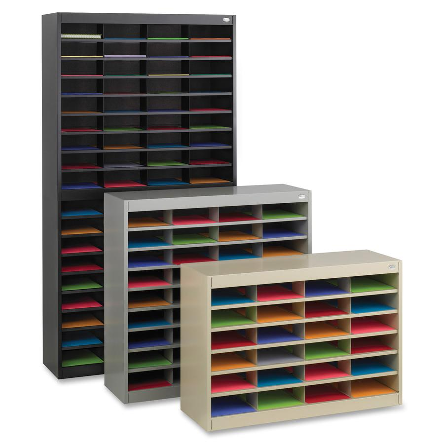 """Safco E-Z Stor Steel Literature Organizers - 750 x Sheet - 60 Compartment(s) - Compartment Size 3"""" x 9"""" x 12.25"""" - 60"""" Height x 37.5"""" Width x 12.8"""" Depth - 50% - Gray - Steel, Fiberboard - 1 Each. Picture 3"""