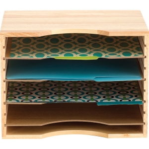 "Safco Wood Stackable Sorters - 5 Compartment(s) - 4 Divider(s) - 9.5"" Height x 12.8"" Width x 9.3"" Depth - Desktop - Light Oak - Wood - 1Each. Picture 7"
