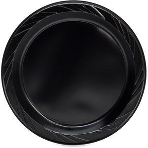 "Genuine Joe Round Plastic Black Plates - 9"" Diameter Plate - Plastic - Black - 125 Piece(s) / Pack. Picture 5"