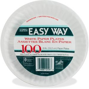 """AJM Packaging Green Label Economy Paper Plates - 6"""" Diameter Plate - Paper - Microwave Safe - White - 1000 Piece(s) / Carton. Picture 3"""