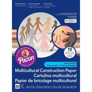 """SunWorks Multicultural Construction Paper - Art, Craft - 0.40"""" x 18""""12"""" - 50 / Pack - Assorted. Picture 2"""