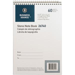 """Business Source Steno Notebook - 60 Sheets - Wire Bound - Gregg Ruled - 15 lb Basis Weight - 6"""" x 9"""" - White Paper - Stiff-back - 1Each. Picture 5"""
