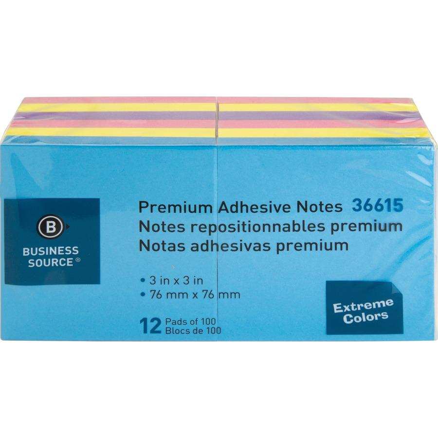 """Business Source 3x3 Extreme Colors Adhesive Notes - 100 - 3"""" x 3"""" - Square - Assorted - Repositionable, Solvent-free Adhesive - 12 / Pack. Picture 5"""
